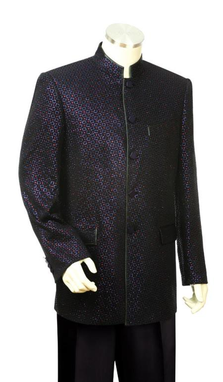 Mens Mandarin Collar Astral Shape Zoot Suit Black