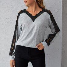 Double V Neck Guipure Lace Trim Sweater