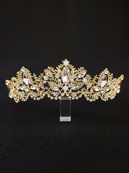 Milanoo Princess Tiara Crown Bridal Headpieces Gold Rhinestones Royal Wedding Hair Accessories