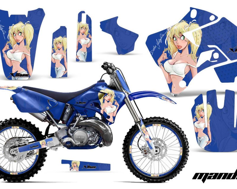 AMR Racing Graphics MX-NP-YAM-YZ125-YZ250-96-01-MY U Kit Decal Sticker Wrap + # Plates For Yamaha YZ125 YZ250 1996-2001áMANDY BLUE