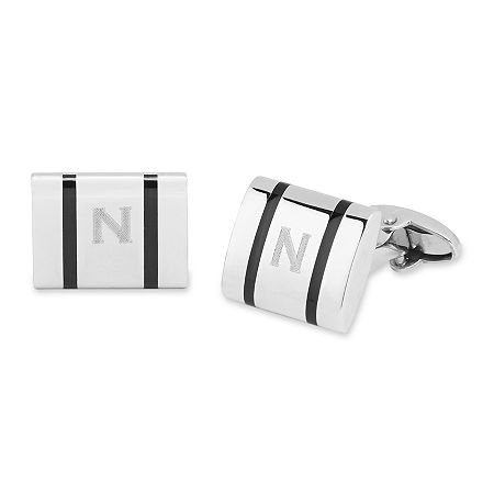 Personalized Polished Stainless Steel Cuff Links, One Size , Gray