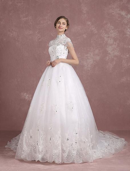 Milanoo Cathedral Train Wedding Dress Lace Applique Illusion High Collar Short Sleeve Bridal Gown Rhinestone Beading Princess Bridal Dress