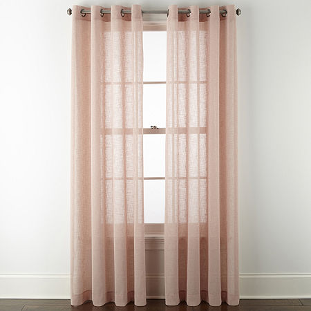 Linden Street Brooke Sheer Grommet-Top Single Curtain Panel, One Size , Pink