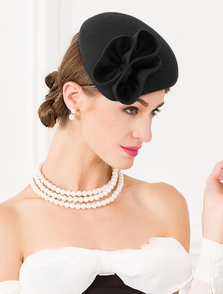 Milanoo Wool Hat Retro Women Small Cap Vintage Headpieces