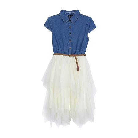 Lilt Little & Big Girls Belted Short Cap Sleeve Party Dress, 6 , Blue