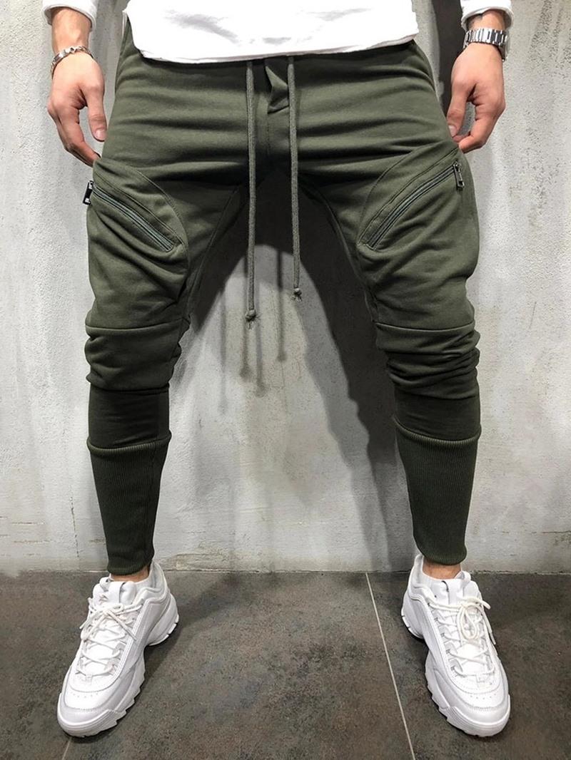 Ericdress Harem Zipper Plain Lace-Up Style Men's Casual Pants