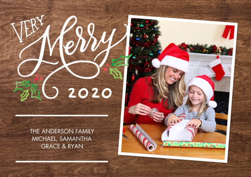 Christmas Photo Cards 5x7 Cards, Premium Cardstock 120lb with Elegant Corners, Card & Stationery -Christmas 2020 Very Merry by Tumbalina