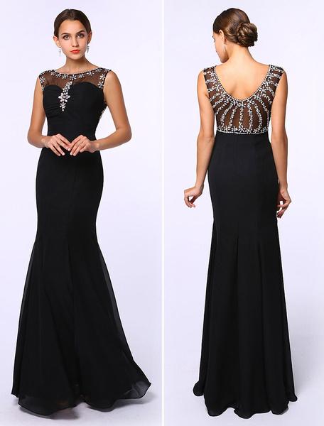 Milanoo Black Prom Dresses 2020 Long Mermaid Evening Dress Rhinestones Beading Chiffon Floor Length Formal Dress Wedding Guest Dress