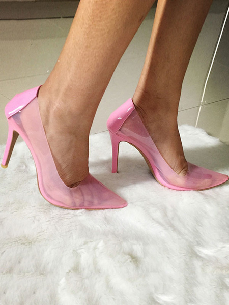 Milanoo Women Clear Pumps Transparent Pointed Toe Stiletto Heels Dress Shoes in Pink