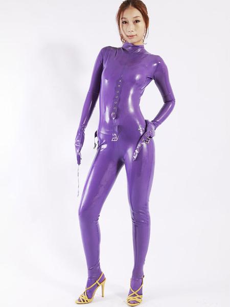 Milanoo Halloween Cool Purple Women's Latex Catsuit Halloween
