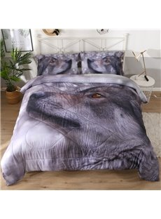 Proud Gray Wolf 3D Printed 3-Piece Polyester Comforter Sets