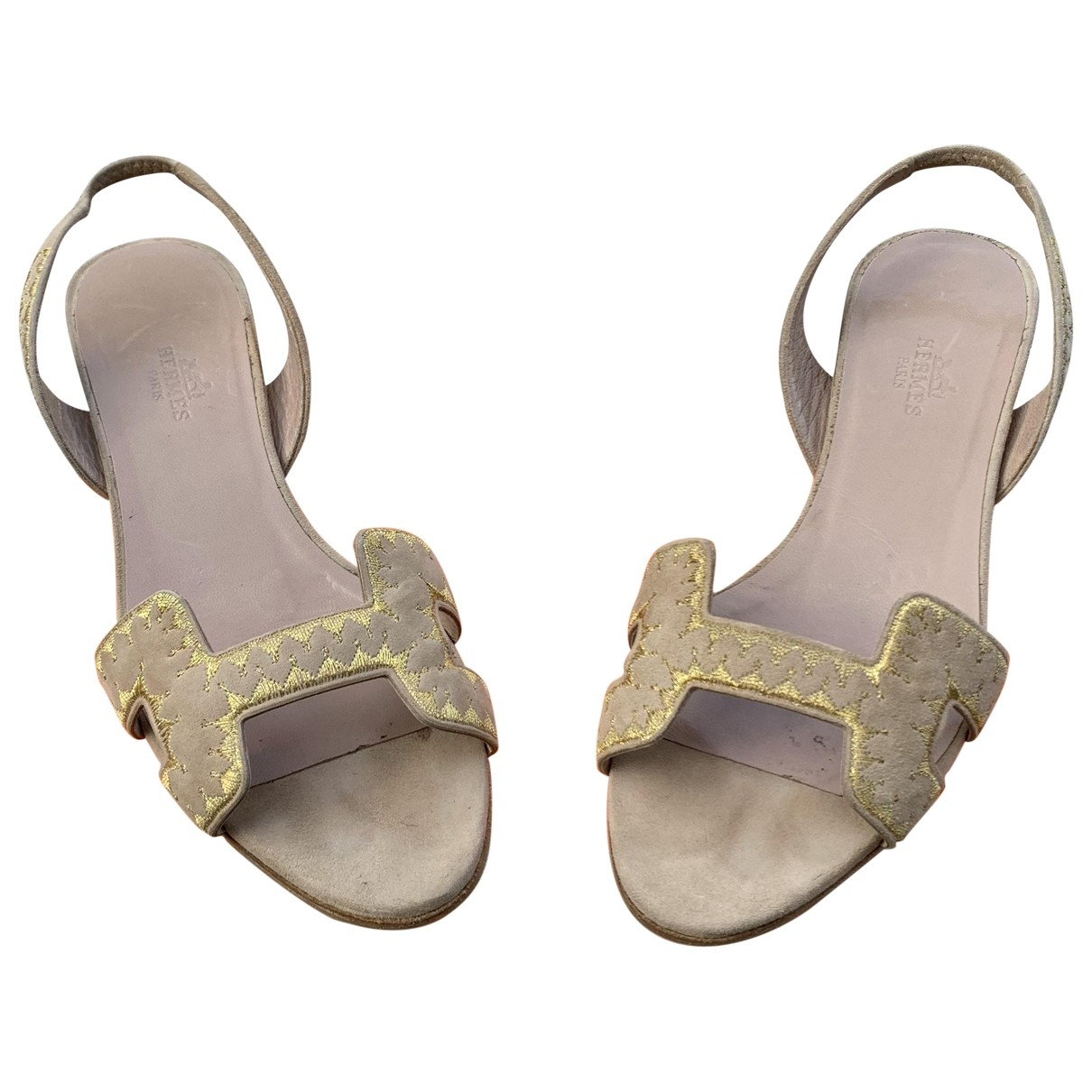 Hermès Première Beige Suede Sandals for Women 37 IT