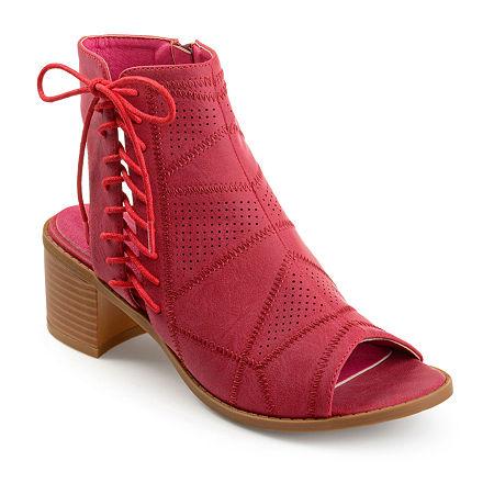 Journee Collection Womens Elexy Booties Block Heel, 7 1/2 Medium, Red