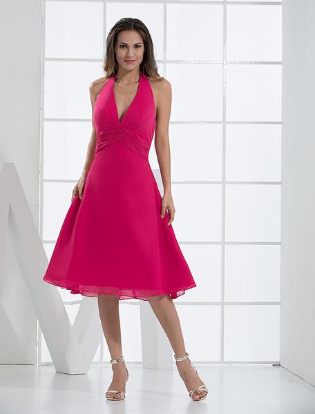 Milanoo Fuchsia Deep V-neck Chiffon Prom Dress Wedding Guest Dress