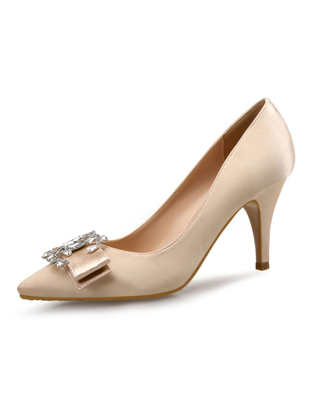 Milanoo Apricot High Heels Satin Pointed Toe Bow Rhinestones Slip On Pumps Women Shoes