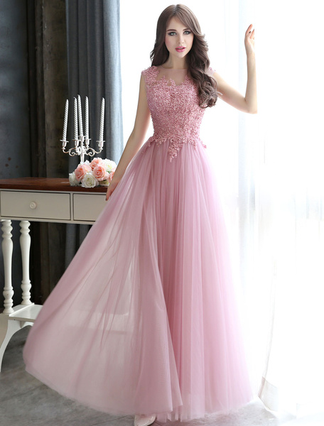 Milanoo Prom Dresses Long Cameo Pink Lace Applique Beaded Tulle Floor Length Backless Formal Party Dress