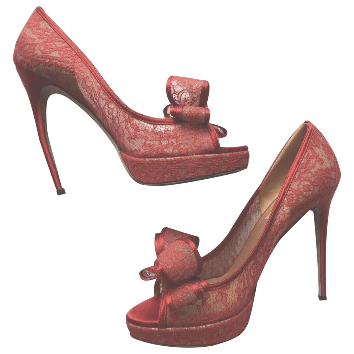 Valentino Garavani \N Red Cloth Heels for Women 40 EU