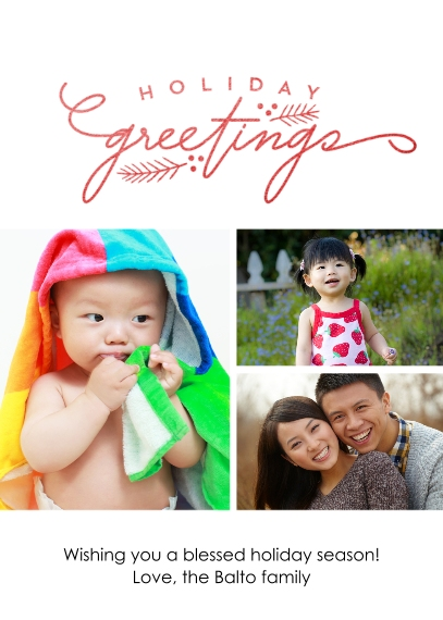 Holiday Photo Cards 5x7 Cards, Standard Cardstock 85lb, Card & Stationery -Holiday Greetings
