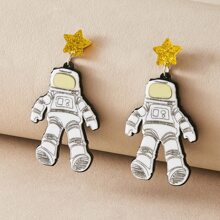 1pair Astronaut Design Drop Earrings