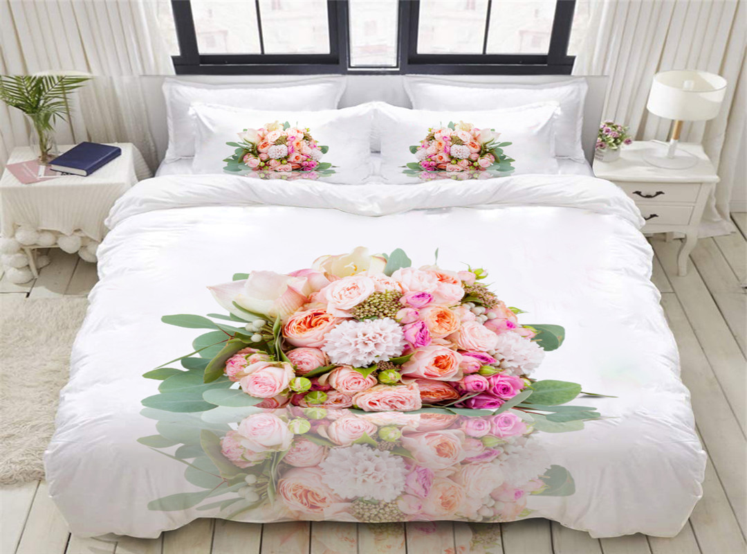 A Bouquet of Roses Reactive Printing 3D 5-Piece Comforter Sets