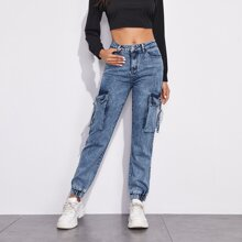 Flap Pocket Cargo Jeans