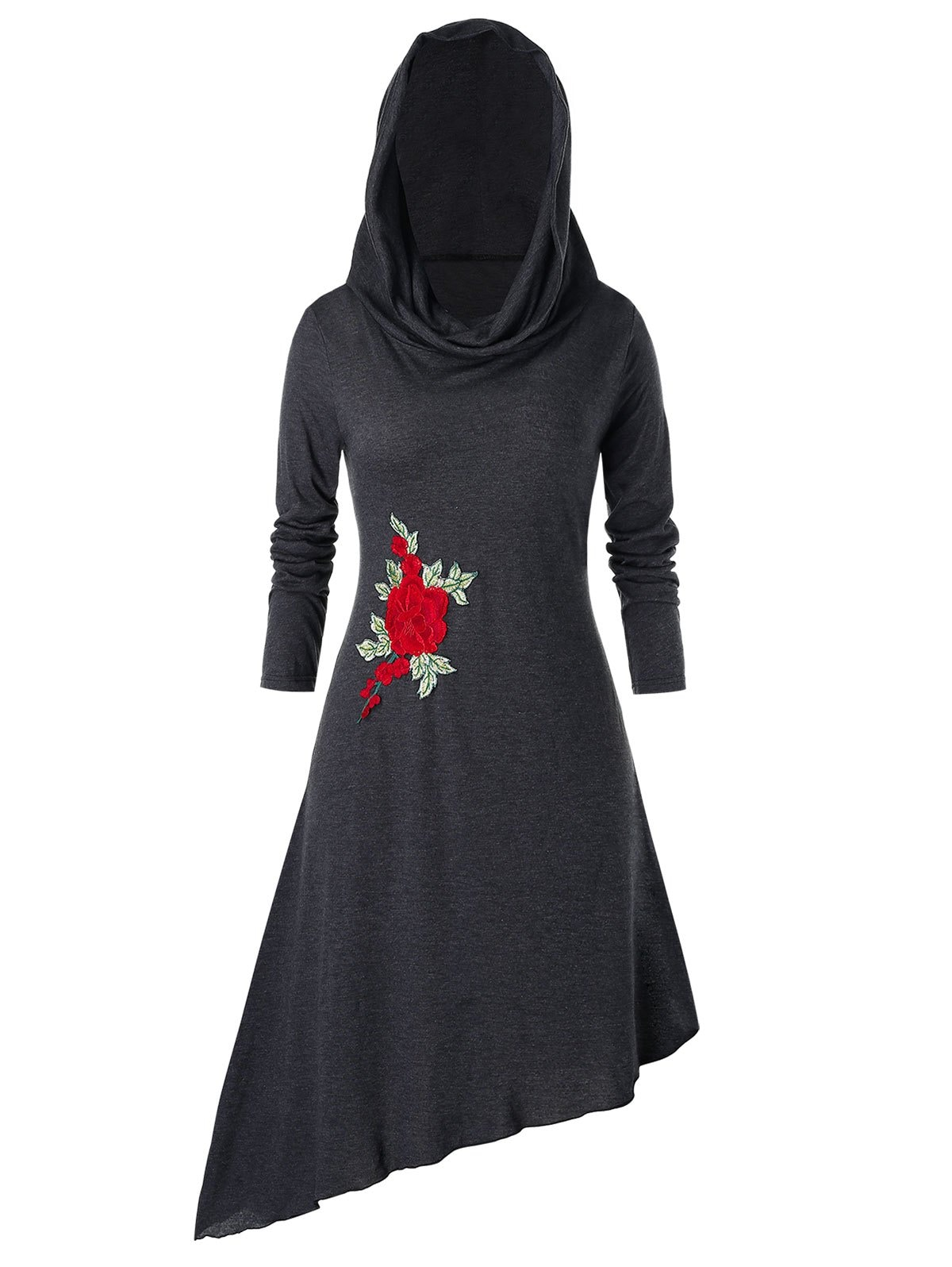Plus Size Asymmetric Hooded Embroidered Midi Dress