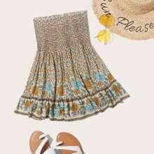 Allover Floral Print Shirred Panel Skirt