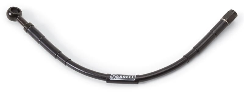 Russell UNIVERSAL DOT BRAKE HOSE 10MM BANJO TO #3 STRAIGHT 12in. L BLK