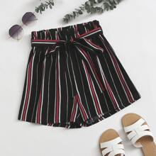 Striped Belted Paper Bag Waist Shorts