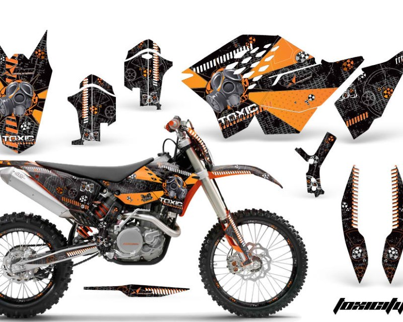 AMR Racing Graphics MX-NP-KTM-C5-07-11-TX O W Kit Decal Wrap + # Plates For KTM SX/XCR-W/EXC/XC/XC-W/XCF-W 2007-2011áTOXIC ORANGE WHITE