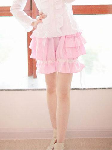 Milanoo Sweet Black Pink Lolita Bloomers Layered Ruffles Bow Ribbon