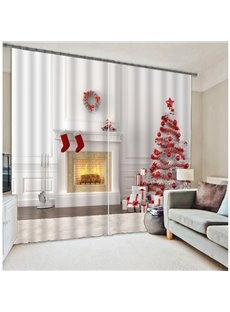 3D Socks and Trees Christmas Printed 2 Panels Custom Decorative Curtain for Bedroom
