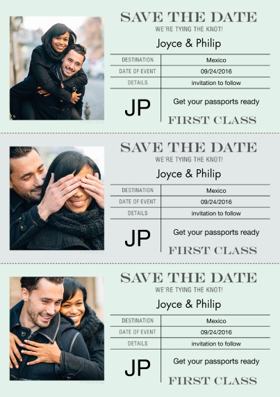 Save the Date 5x7 Cards, Standard Cardstock 85lb, Card & Stationery -First Class Ticket