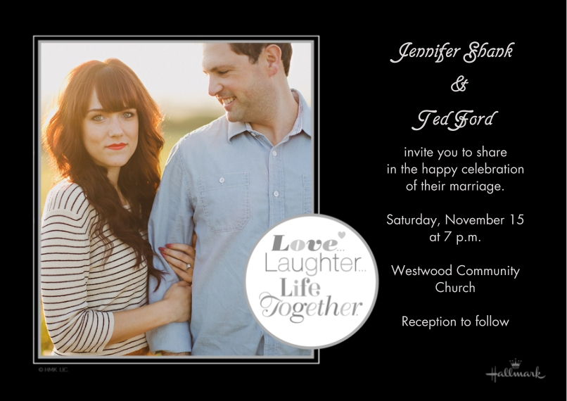 Wedding Invitations 5x7 Cards, Premium Cardstock 120lb with Elegant Corners, Card & Stationery -Love, Laughter, Life Together