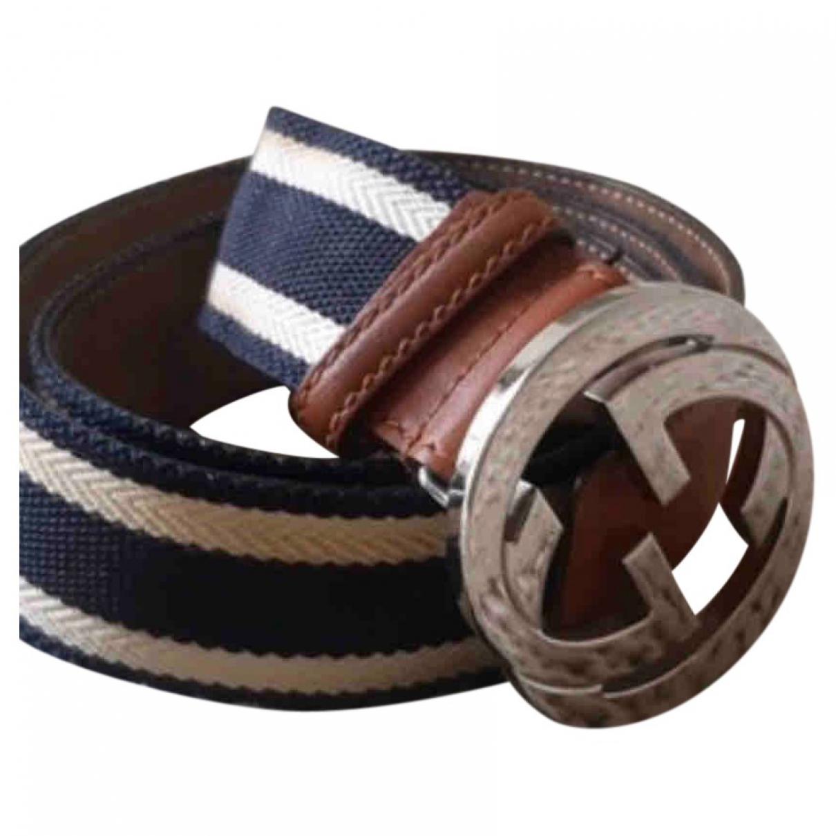 Gucci Interlocking Buckle Blue Cloth belt for Women M International