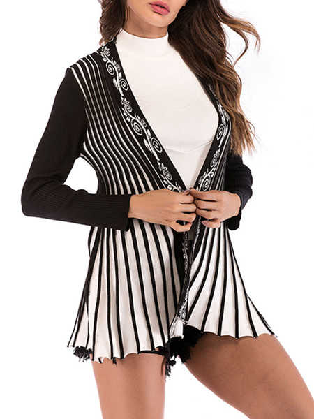 Milanoo Black Sweaters Cardiganswomen V-Neck Long Sleeve Cardigan Jacket