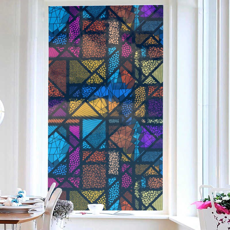 Colorful Geometric Patterns Painted Window Film No-glue Glass Static Sticker