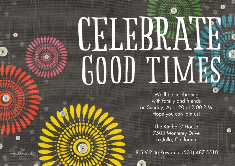 Birthday Party Invites 5x7 Cards, Premium Cardstock 120lb with Elegant Corners, Card & Stationery -Celebrate Good Times