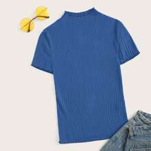 Lettuce Trim Rib-knit Fitted Tee