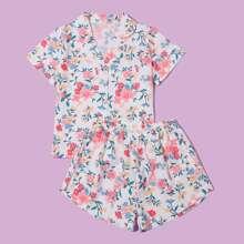 Girls Allover Floral Print PJ Set