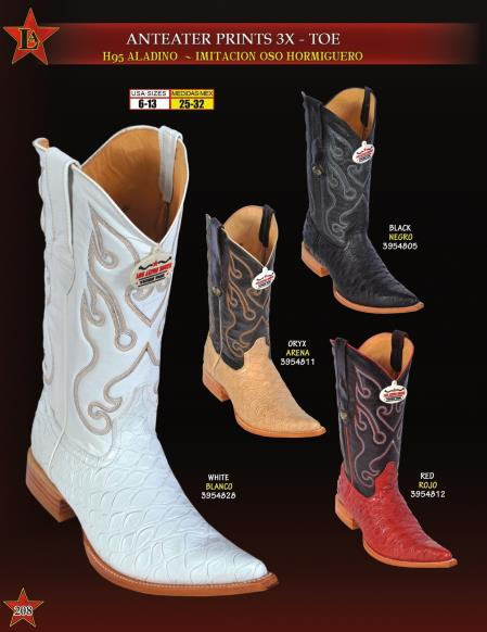 Los Altos Mens 3XToe Anteater Print Cowboy Western Boots Diff. Colors
