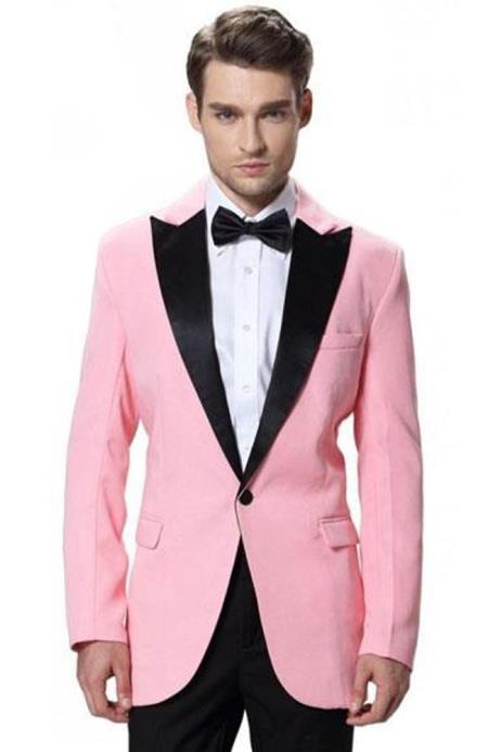 Men's Single Black Pink Jacket  Black Pant 1 Button Elegant Slim Fit