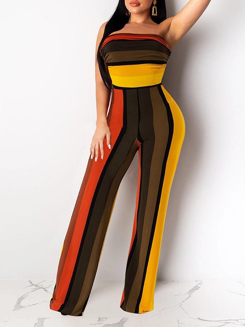 Ericdress Color Block Sexy High Waist Women's Slim Jumpsuit