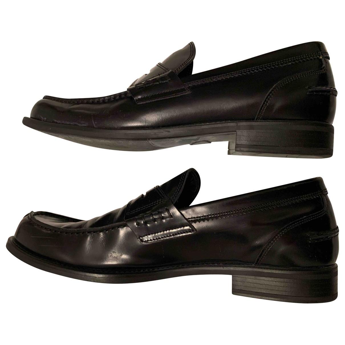Pollini \N Black Leather Flats for Men 46 EU