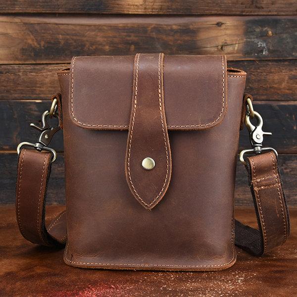 Men Genuine Leather Vintage Business Shoulder Bag Crossbody Bag
