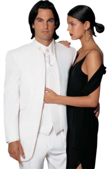 Mens Collarless Blazer Nehru Jacket Marriage Groom Wedding White