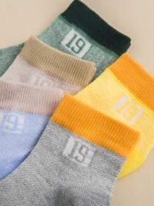 5pairs Toddler Boys Number Pattern Socks