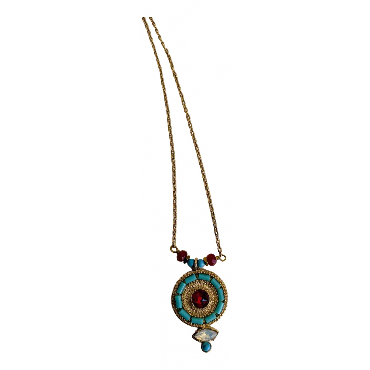 Non Signé / Unsigned Turquoises Multicolour Metal pendant for Women \N