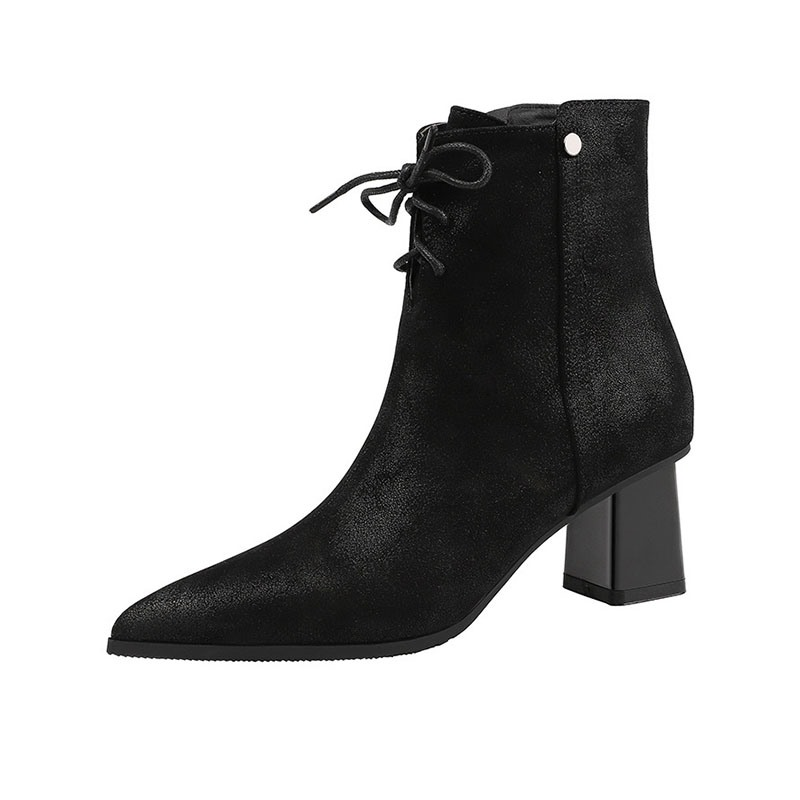 Ericdress Pointed Toe Plain Side Zipper PU Ankle Boots