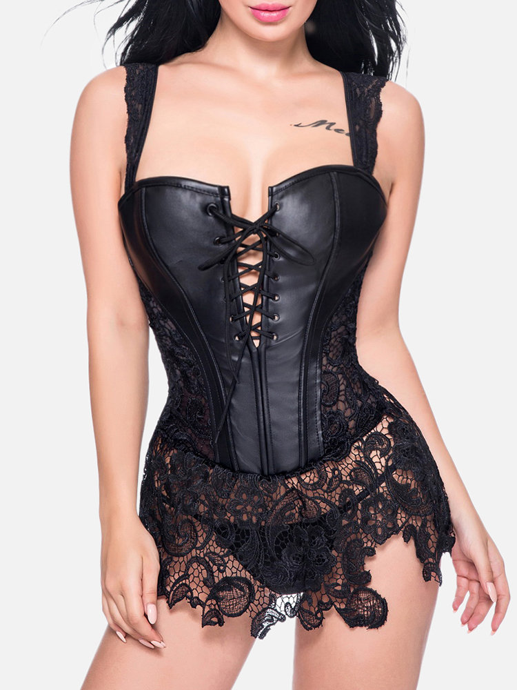 Plus Size Sexy Lace Steampunk Artificial Leather Corset Dress